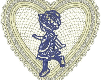 10 6x6 I love bonnets in Lace Hearts. zip file download