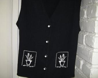 Rayon Womans Vest ~~ Vintage 80s ~~  Spring Tulip Vest ~~ Sharon Anthony Rayon Vest