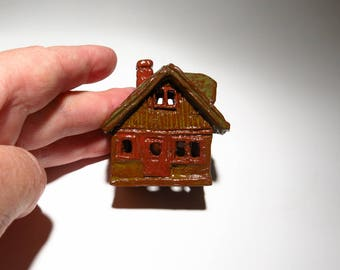 Bungalow House Ceramic Blue or Rustic Brown Miniature Cottage