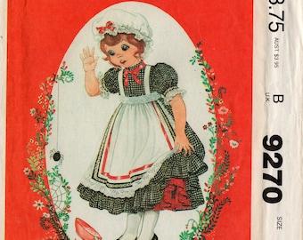 """Unbeschnittene Mädchen kleinen Lieblinge Kleid Schürze Mütze Muster McCall #9270 Größe 1-2-3 Kleinkind """"Zauberwald"""" Ostern Frühling 1984 Vintage Nähkästchen"""