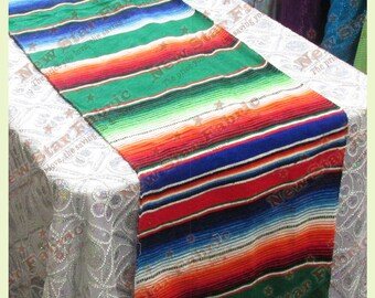 "Serape Table Runner - Mexican Table Runner - Saltillo Serape - For Wedding & Parties 13"" X 77"" Green Blue"