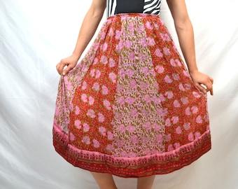 Beautiful Vintage 1970s Starina Hippie Gauzy Cotton India Skirt