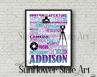 Personalized Photographer Poster, Photography Typography, Gift for Photographers, Photographer Wall Art, Photographer Print