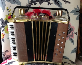 Vintage 1950's Accordion Lucky Gold Terada Ware liquor carrying case with music box