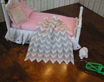 """Dollhouse Miniature Afghan - hand knit white with pink and green stripes- 4"""" x 5"""" - 1:12 scale"""