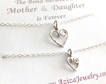Mother Daughter Heart Necklaces. Sterling Silver Heart Necklace Set. Two Hearts Necklace Gift Set. Swirl Hearts Necklaces. Mom Jewelry