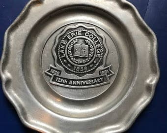 1981 Lake Erie College 125th anniversary pewter plaque dish made in Colonial York Pennsylvania