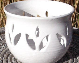 Candle or Tea Bag Holder in white with hand carved tulips