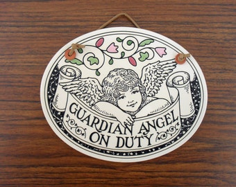 "Spooner Creek Designs Wall Plaque By Michael Macone ""Guardian Angel On Duty"" 1993"