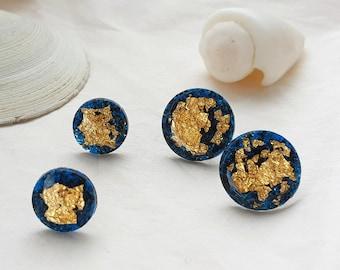 Party Resin  Deep Blue Sea Stud Earrings (Large)