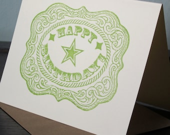 Belt Buckle - Gocco Printed Birthday Card