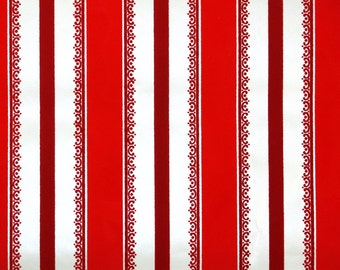 Retro Flock Wallpaper by the Yard 70s Vintage Flock Wallpaper - 1970s Red and White Stripe
