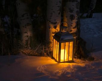 Lantern photo, aspen trees snow photo, lantern glow print, winter wall art, snowy aspen woods photo,  rustich home decor, log cabin art