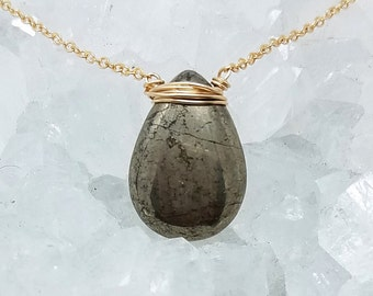 Polished Pyrite Briolette Necklace Gold Wire Wrapped - Silver Pyrite Drop Pendant - Gold Silver Necklace - Mixed Metal Jewelry - Crystal