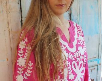 Hand Embroidered Cerise Pink Mexican Kaftan Maxi Dress S, M, L, XL