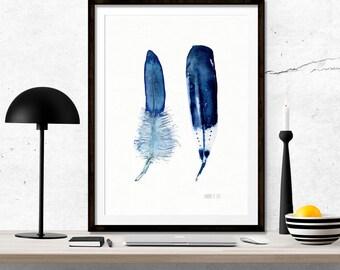 Minimalist art work of 2 blue feathers. Blue feather wall art. Archival art print from original watercolor artwork by Annemette Klit.