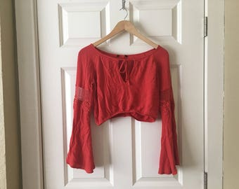 Long sleeve peasant blouse crop top