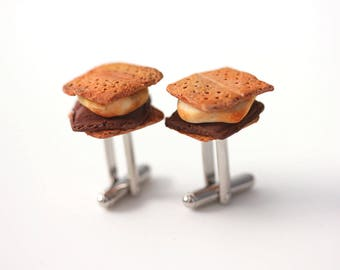 Smores Cufflinks: Polymer clay food cufflinks-Fathers day