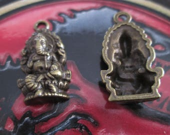 2 charms / metal Ganesh pendant bronze 27 x 14 mm