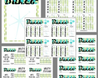 Retro Housewives Bunco Printable Set, Housewives Bunco Score Cards & Tally Sheet, Instant Download, Editable Bunco Invites