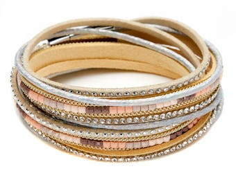 Beige, Leather Crystal Wrap Bracelet / Choker