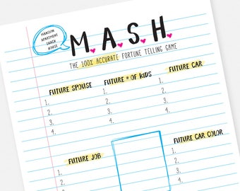 MASH Printable Party Game - Instant Download Bridal Shower Sleepver Slumber Party Bachelorette Game