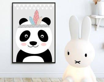 Printable Nursery Wall Art Print, Kids Art Print, Digital Animal Nursery Print, Instant download, Panda bear poster, Kids room