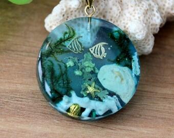 Blue ocean  pendant, pendant for women, marine life pendant, pendant lichen, pendant white coral, seabed pendant, pendant algae