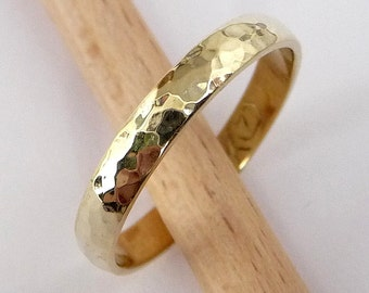 Wedding Band men's women's wedding ring 14k gold Wedding Ring 3mm wide by 1.2mm thick hammered classic
