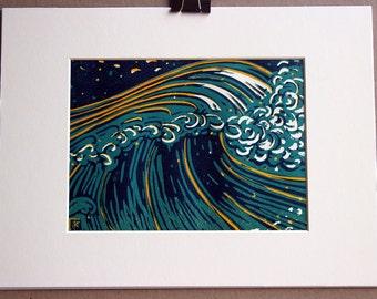 Hand printed 3 color reductive linoleum block print: Rising Wave, Japanese style, ocean, blues and orange