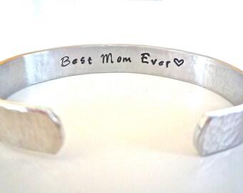 """Mom Bracelet, Mother's Day Bracelet, Best Mom Ever, """"Best Aunt Ever"""", """"Best Nana Ever"""", Personalized Bracelet, Mother of the Bride Gift"""