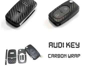 AUDI Flip Key Carbon Fiber Look Keyring Fob Decal Sticker Wrap Overlay A3 8L 8N S3 A4 S4 B5 B6 A1 A2 A6 C5 8E 8P TT S Line - Carbon Black