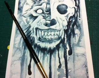 The Futility of a Shared Existence - Original Wolf / Werewolf Skull Watercolour Painting