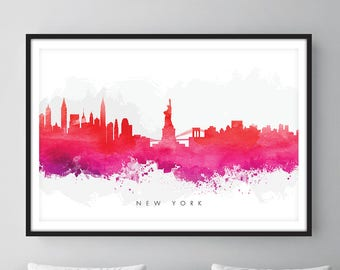 New York Skyline, NYC Cityscape, Art Print, Wall Art, Watercolor, Watercolour Art Decor [SWNYC09]
