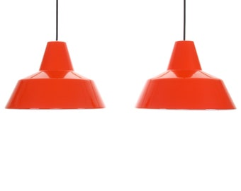 ENAMEL PENDANTS (pair) by Louis Poulsen, 1960s. Danish mid century lighting design. Vintage industrial ceiling lights with coral red enamel