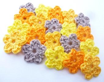 Mini flowers Orange yellow and Beige crocheted 100% cotton-set of 20