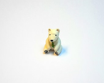 miniature clay polar bear, ooak bear figurine, cute polar bear, polar bear with tie, clay animal figurine