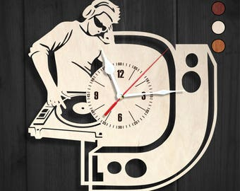 Wooden wall clock DJ