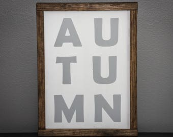 Autumn wooden sign | Fall sign wood farmhouse | Wood front porch sign | Rustic farmhouse decor | Farmhouse wooden sign with frame