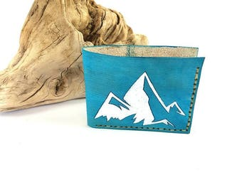 Mens leather wallet / Mountain wallet / Unique leather wallet / Gift for him