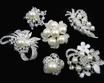 Lot 6pcs Clear Crystal Rhinestone Brooch Wedding Brooches Pearl Brooch Wedding Bridal Bouquet Brooch Costume Brooch Bridal Favor Invitation