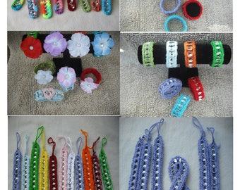 20 Mix Assorted Random Crochet Pop Top Bracelet-Crochet Friendship Bracelets-Craft Shows-Beads-Felt Flowers-Jewelry-Free Shipping.