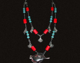 Under the Deep Blue Sea Necklace and Earrings Set