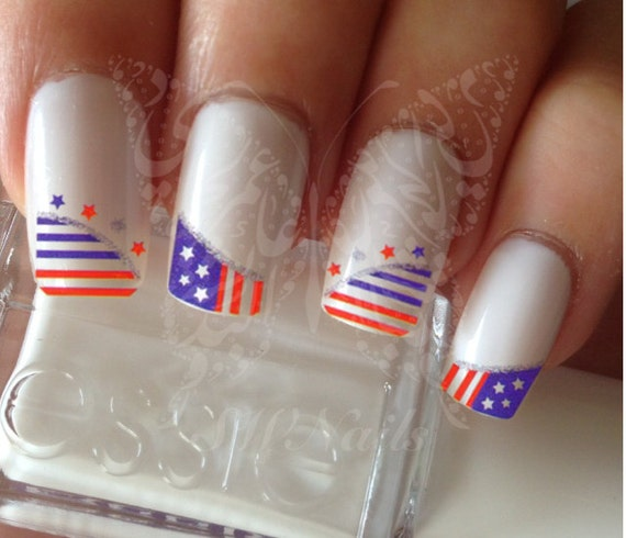 Nail Art Usa Heart 4th Of July Nail French Tips Water Decals