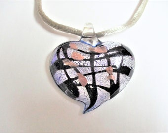 Murano Style Heart Pendant Dichroic Art Glass Pendant Silver Black Copper Venetian Glass Vintage Jewelry Making Supply Mother's Day Gift