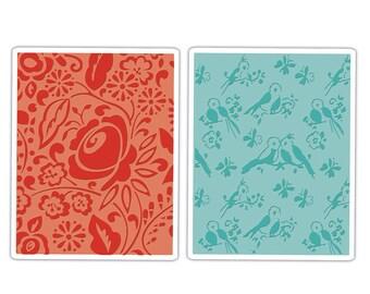 Sizzix Textured Impressions Embossing Folders 2PK - Birds & Blooms Set 657393