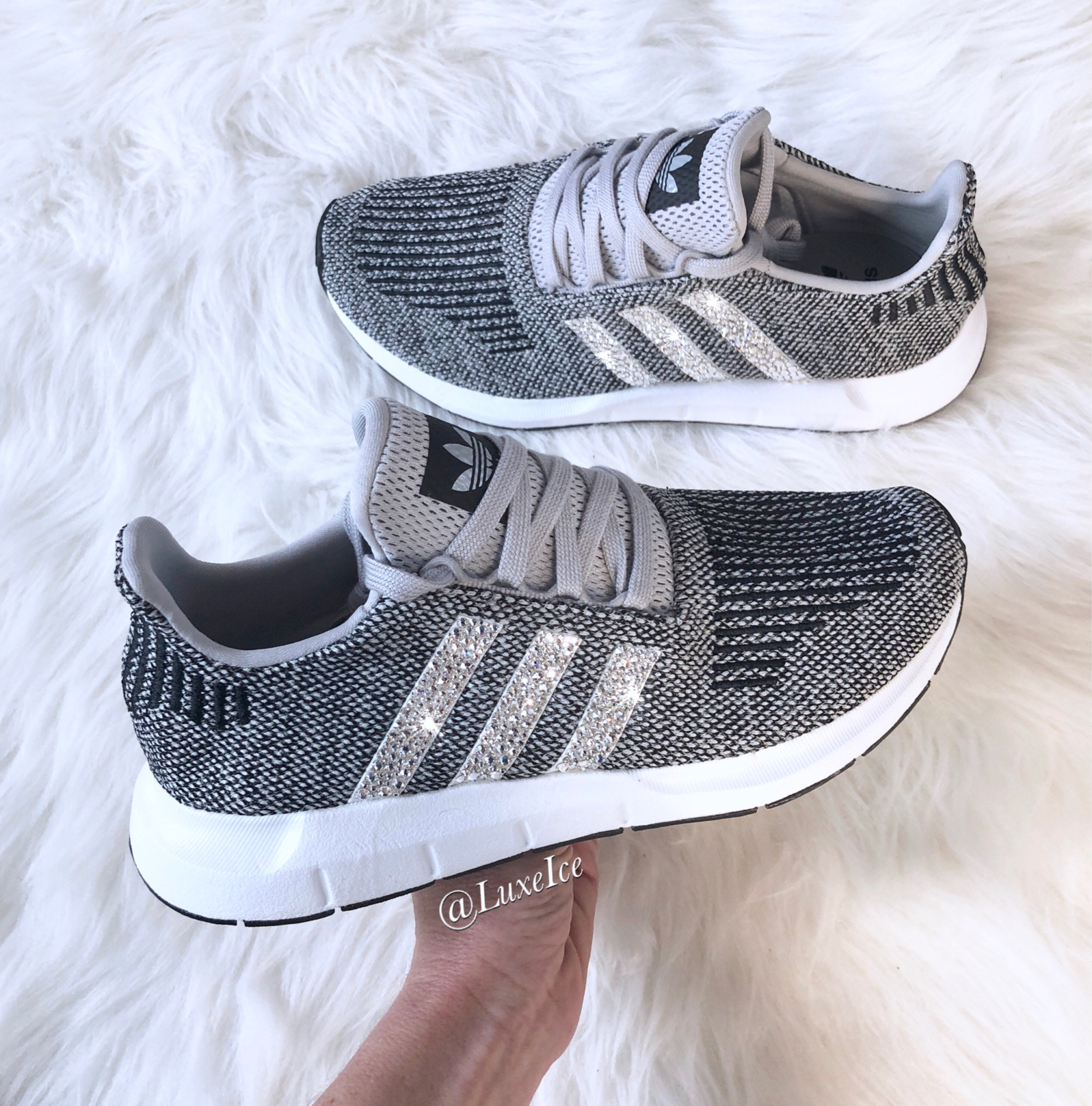 Bling Adidas Swift Run customized with SWAROVSKI? Xirius Rose-Cut Crystals.