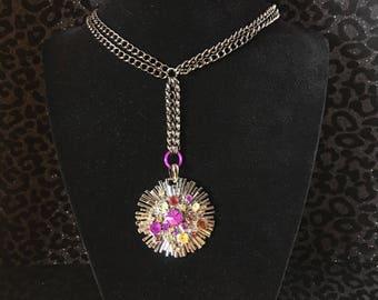 Jeweled sunburst necklace