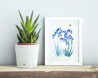 Ink bluebell flowers & bees, giclée print, wall art, painting, lovely bee, art print, bumble bee, kitchen art, flower, Christmas gift, cute