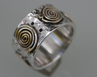 Solid Silver Ring , Silver and Gold Ring,  Gold Ring, Handmade Ring, Wedding Ring, Gold Spiral, Wide Ring,Solitaire Ring,